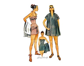 1950s Womens Bathing Suit Pattern Simplicity 3899, 50s Playsuit, Swimsuit & Beach Cover Up Vintage Sewing Pattern, Bust 32, Uncut