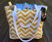 Yellow Chevron Beach Bag, Large Beach Tote, Yellow Summer Bag, Weekend Travel Bag, Teacher Tote