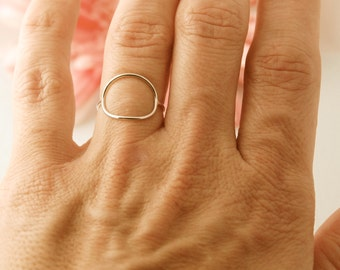 Sterling silver Circle ring, karma ring