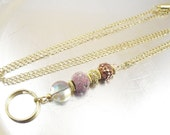 Pink, Gold and Copper Oval Link Gold Chain OR Leather Cord ID Lanyard, Badge Holder, Key Chain Necklace