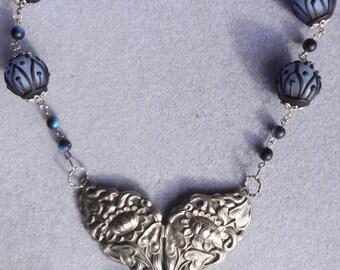 Unique Art Nouveau Necklace--Silver Pendant with Black AB Glass