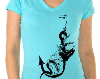 mermaid shirt - womens tshirts - mermaid gifts - nautical shirt - sailing tshirt - nautical gift - gift for her-IM HOOKED-black sport v-neck