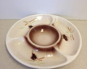 Lane & Co. Divided Appetizer Platter, California Pottery, Veggie Plate