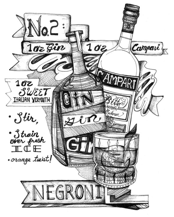 Dessin original de cocktail negroni classic gin recette de - Dessin cocktail ...