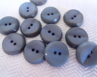 Dusty Blue Gray Vintage Buttons - 6 Mid Century