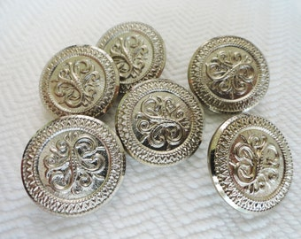Ornate Scroll Vintage Buttons - 6 Silver Metal