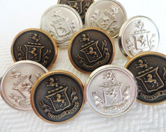 Vintage Metal Blazer Buttons - 7 Let Us Be Judged By Our Acts Silver Lion Crest 7/8 inch 22mm for Jewelry Beads Sewing Knitting