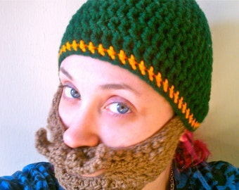 Beard Beanie Hat, Crochet, Removable Beard Beanie