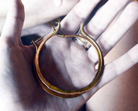 Golden Hoop Earrings, Big Size, Mixed Metal, Sterling Silver Ear Wire, Hip, Ethnic, Gypsy, Handmade
