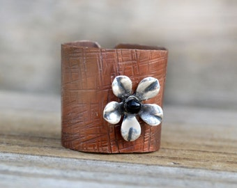 Hammered Copper Ring Cigar Band Textured Metal Silver Flower Signed