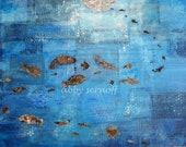Ocean Art Sea Art Fine Art Giclee Print of Original Collage Swimming Home 8 x 10