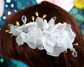 Rose bridal comb gold leaf and crystals