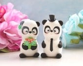 Panda unique wedding cake toppers - bride and groom figurines cute personalized elegant gift anniversary black white coral pink mint green