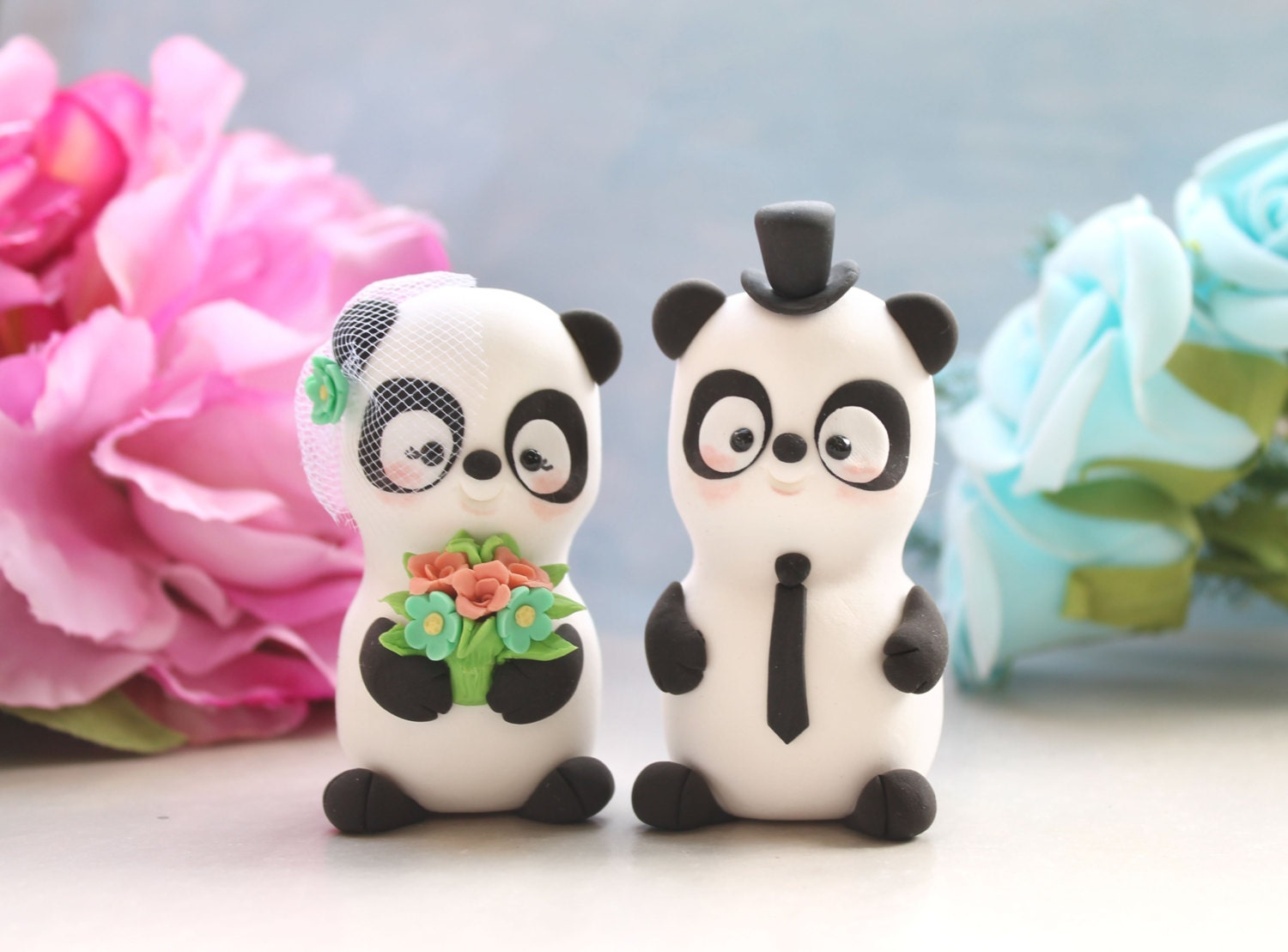 Panda unique wedding cake toppers bride and groom figurines