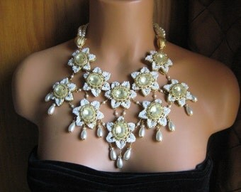 Tranquility - OOAK Beaded Fantasy Flower Bib Statement Necklace and Earring Set, Runway Look FREE Shipping