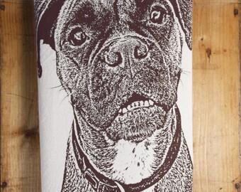 Boxer Tea Towel in Dark Brown - Hand Printed Flour Sack Tea Towel