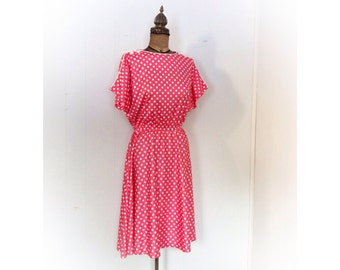 Vintage 1980s Dress Pink Polka Dots Minnie Mouse