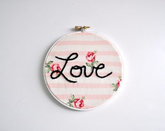 Pink Striped Rose Embroidery Hoop Art. Floral Embroidery Hoop. Pink Embroidery.