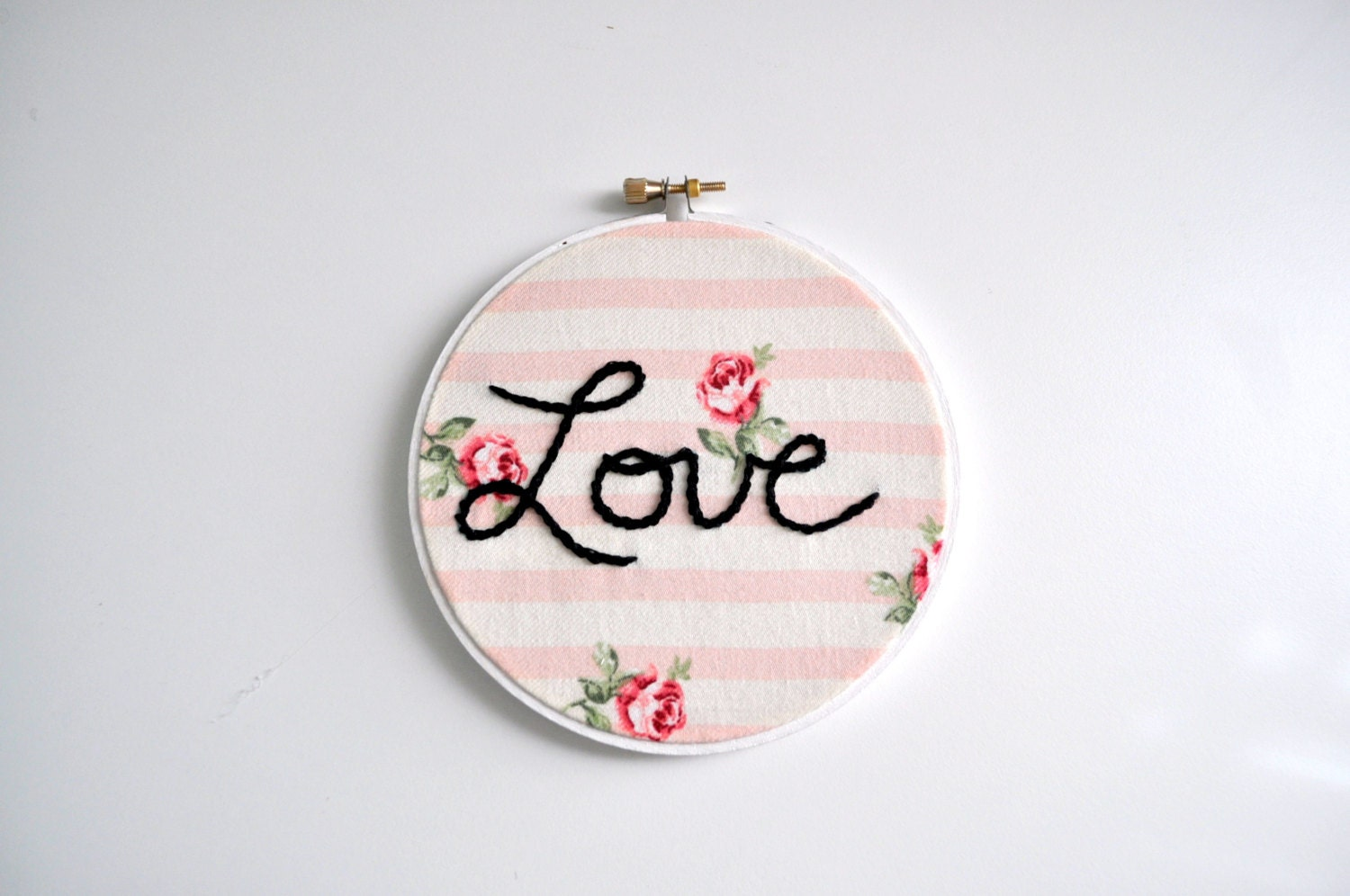 Pink striped rose embroidery hoop art floral