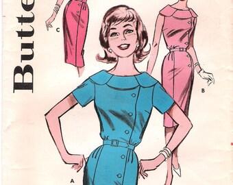 Butterick 9686-1950 Wiggle Dress Vintage Sewing Pattern Bust 36 Side-Buttoned Petal Sleeveless Dress