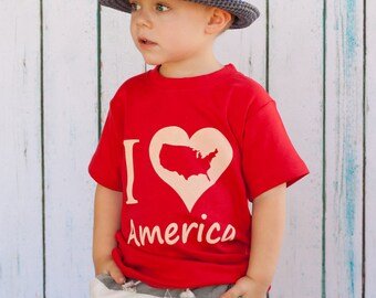 I Love America, 4th of July Kids Shirt, High Quality, size 12m to 8, Red or Navy