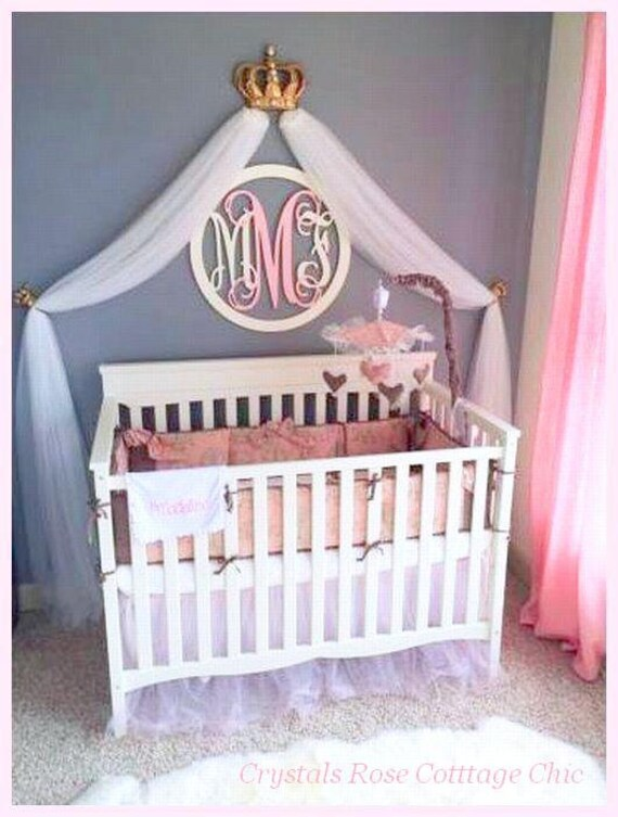 Fleur de lis metallic gold bed crown canopy set with your for Nursery crown canopy