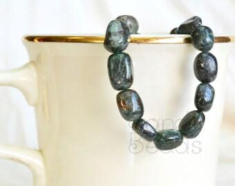 Dark Green Apatite Smooth Oval Nugget Beads 8x12mm 15 inch strand