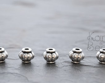 15 Pumpkin, Lantern Shaped Silver Color Metal, rondelle, rondel, Beads 4x5x3mm