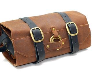 Leather Toiletry Roll - Men's Leather Shaving Kit - Wet Shaving Case - Removable Toiletries Bag