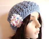 Crochet Slouchy Hat in Light Blue, Sky Blue, Sized for Teens and Adults, Year Round Accessory