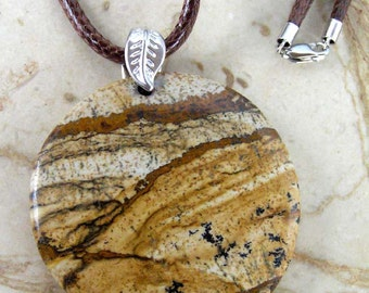 Picture Jasper Disc Pendant Necklace with Sterling Silver Double-Sided Leaf Bail & Brown Korean Waxed Braided Cotton Cord