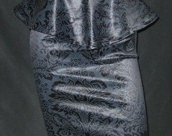 Wedding High Waist Pencil skirt and peplum Loving DAMASK Goth wedding  Burlesque