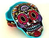 Ceramic Sugar Skull Box Painted Day of the Dead Dia de los Muertos Jewelry Box Heart Home Decor calaveras pintadas Halloween - READY TO SHIP