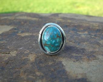 Kingman Turquoise Sterling Ring Smooth Modern