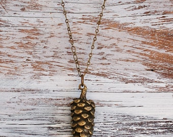 PINE CONE Pendant Long Necklace Nature Study Woodland Forest Autumn Winter Rustic Pinecone Large