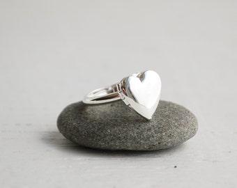 Silver HEART RING Custom Initial Sweetheart Ring Valentine Locket Keepsake Secret Message of LOVE Personalized Initial Ring