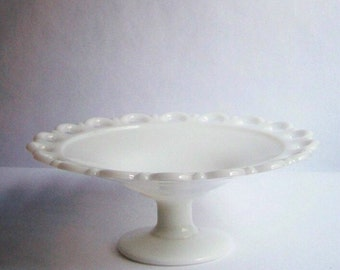 Vintage Milk Glass Pedestal Dish ~ Compote Dish ~ Scalloped Edges