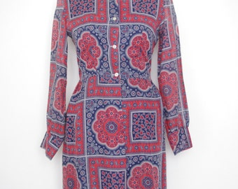 1970s French vintage red blue and white dress - paisley cashmere - medium M large L