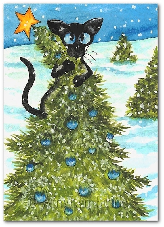 Items similar to siamese cat tree topper fun art prints Christmas tree cat tower