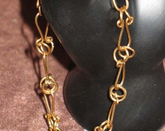 Red Brass Eyelet Link Bracelet 8.5 Inches