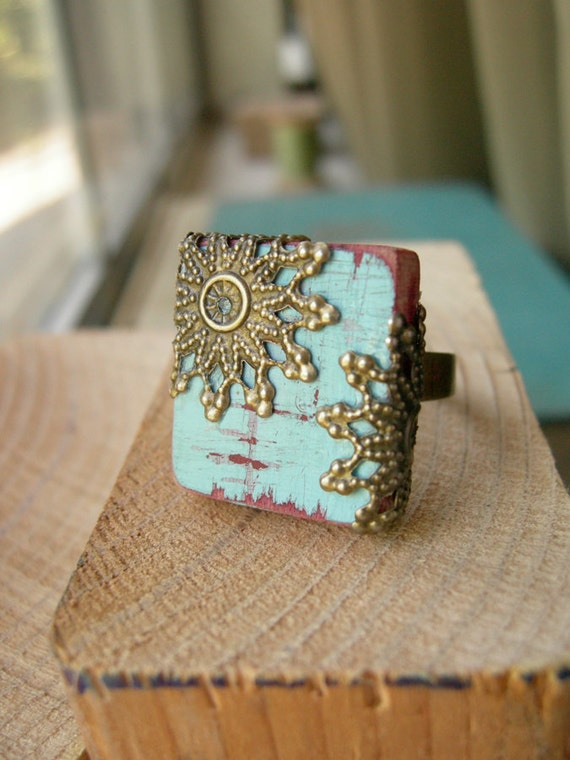 Cottage Chic Statement Ring  Cockatoo Blue Scrabble Tile Wood Light Turquoise - The Majestic