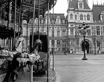 Paris Photography, Carousel Horses Hotel DeVille, Black and White Photography, Paris Merry Go Round Carousel Black and White Photography