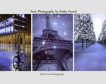 Paris Photography, Lavender Purple Paris Fairy Lights, Paris Night Lights Print Set, Paris Wall Art Prints, Tuileries, Eiffel Tower, Bicycle