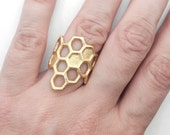 Honeycomb Ring (3D printed steel, bronze, gold)