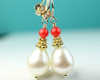 Pearl drop earrings with coral, Vermeil details, Gift for her, pearl jewelry, under 50 dollars, Free shipping in Canada, by art4ear, coral