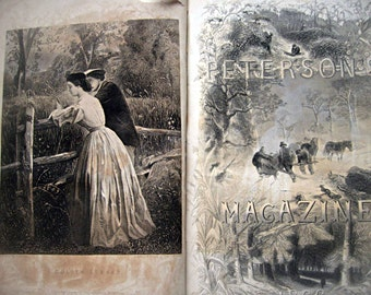 Antique Peterson's magazine, 1866, bound leather book, gorgeous illustrations fold out fashion plates les mode parisiennes, antique fashions