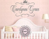 Princess Castle Baby Girl Name Wall Decal - Monogram and Castle Accent Vinyl Girl Nursery Teen FN0600