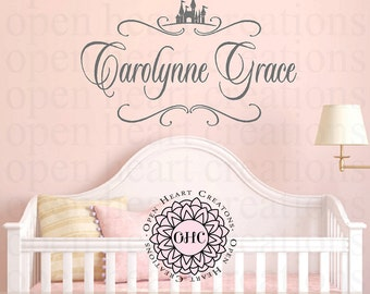 Princess Castle Baby Girl Name Wall Decal - Monogram and Castle Accent Vinyl Girl Nursery Teen FN0600