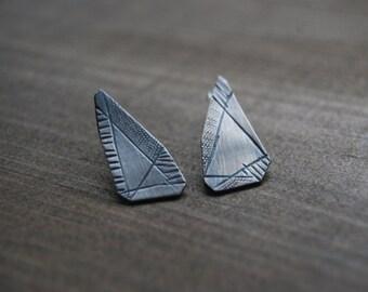 Sterling Silver Geometric Gem Post Earrings