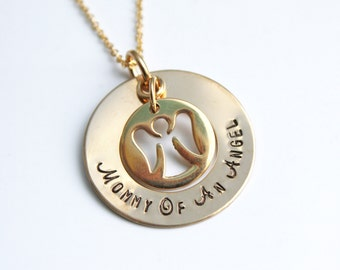 Gold Miscarriage Necklace - Mommy Of An Angel Necklace - Gold Baby Memorial Necklace - Gold Angel Necklace - Gold Memorial Necklace - Loss